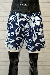 Costume-SUNDEK-Uomo-Taglia-XL-Mare-Piscina-Pantaloncino-Shorts-Blu-Rete-Floreale