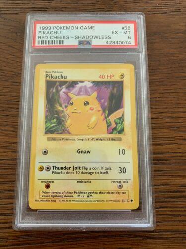 PSA 6 EX-MT Pikachu 58//102 Shadowless Red Cheeks Base Set Pokemon Card