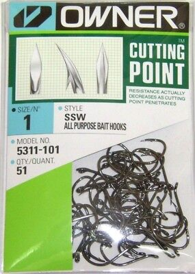 OWNER HOOKS SSW ALL PURPOSE BAIT BLACK SUPER NEEDLE POINT 5315-101 SIZE 1 QTY 46