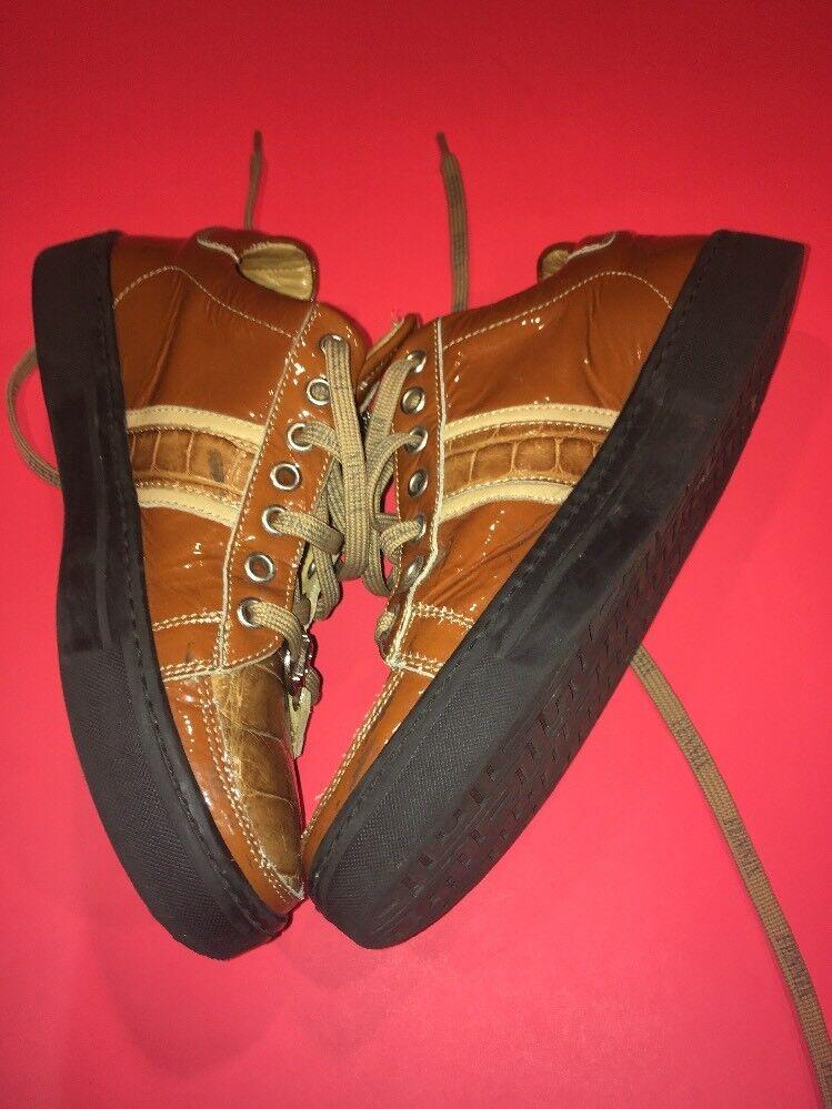 Fennix  Leather  Alligator Alligator Alligator Mesh arancia Donna  scarpe Dimensione 5 58e339