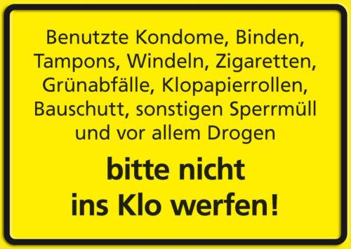 Ins Klo werfen Funschild Fun Schild Blechpostkarte Blechschild 10,5 x 14,8 cm