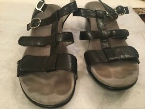 Women-039-s-Alegria-Sarah-211-Uptown-Black-Leather-Strappy-Wedge-Sandals-40-US-9