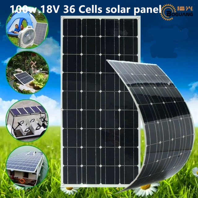 100W 18V Solar Panel 36 Cells Boat/Motorhome/Camping Off Gird Boat Solar Charger