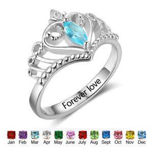 Custom Promise Birthstone Ring For Her Queen Princess Crown