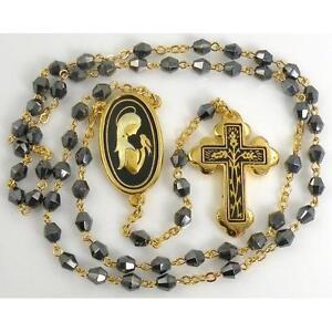 Damascene-Gold-Rosary-Cross-Virgin-Mary-Black-Beads-by-Midas-of-Toledo-Spain