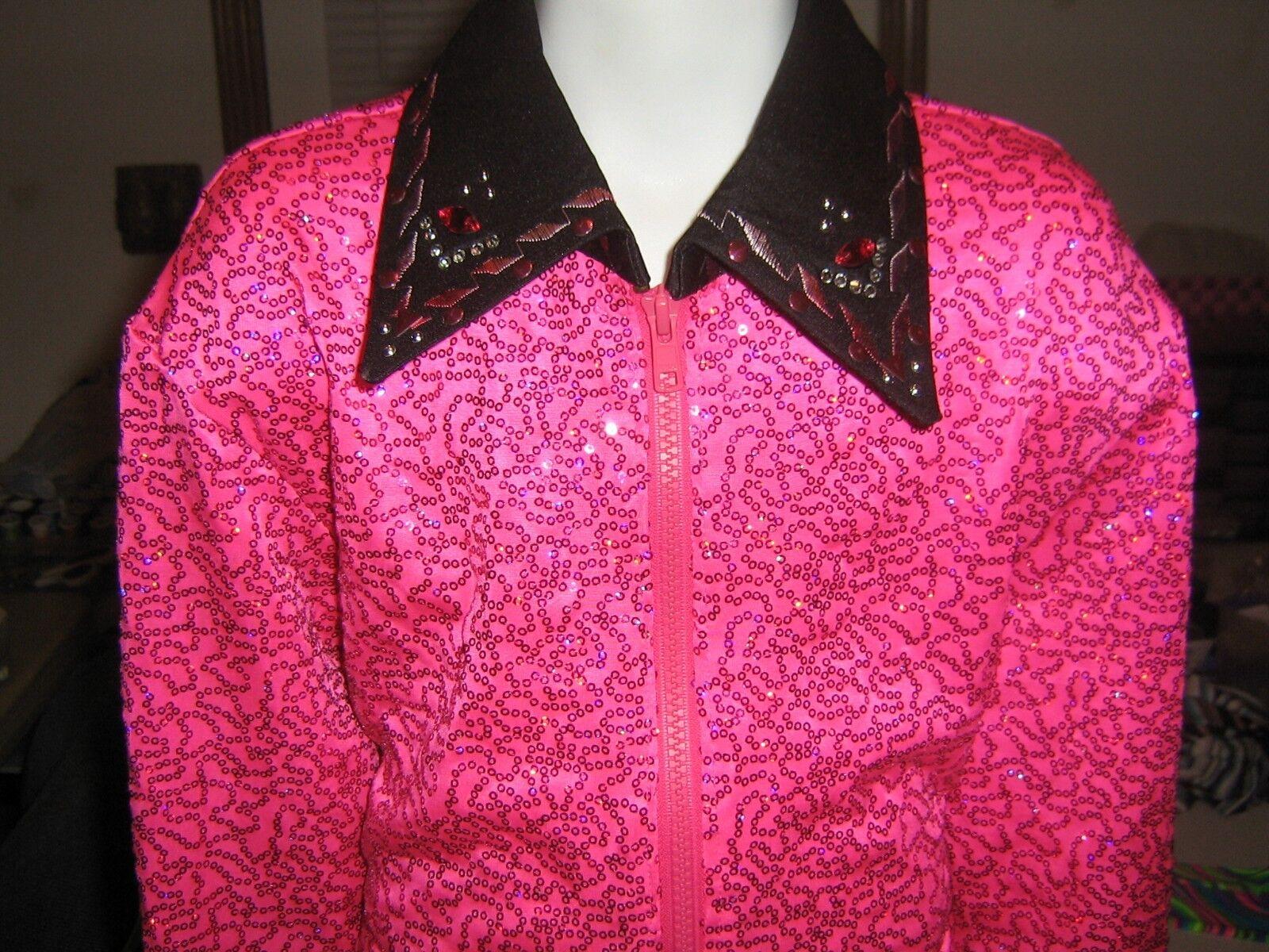 L girl Pink sequin showmanship Horsemanship  WESTERN pleasure rail show shirt