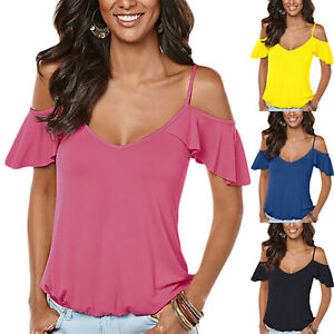 Women-Summer-Cold-Shoulder-Short-Sleeve-T-Shirt-Ladies-Casual-Tee-Tops-Blouse-US