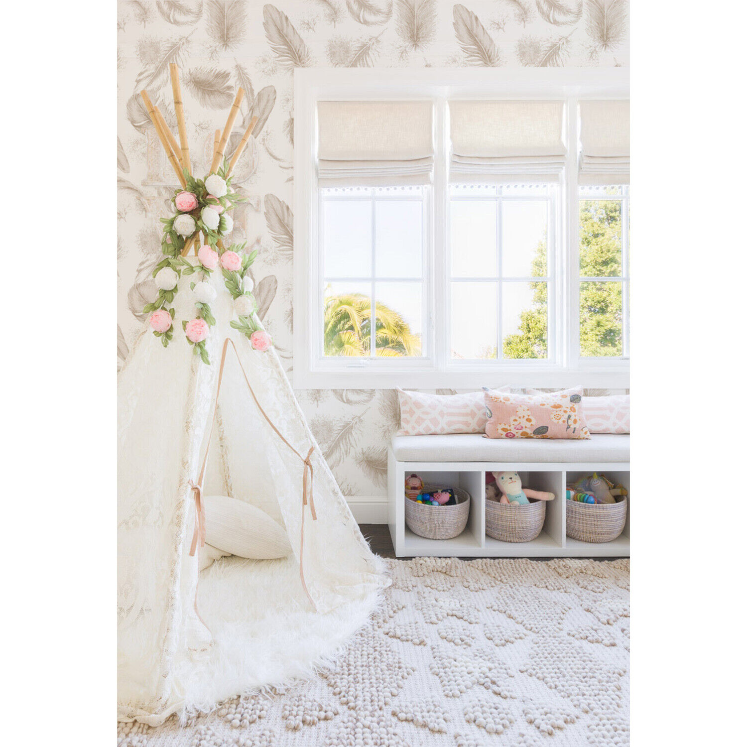 Non-Woven wallpaper Feather Nursery Subtle Kid room Vintage Baby room Fairytale