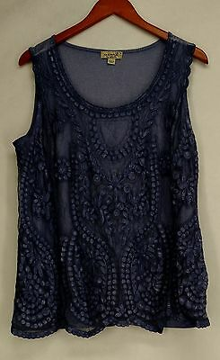 One World Plus Size Top 1X Sleeveless Lace Front Oil Wash Tank Blue NEW