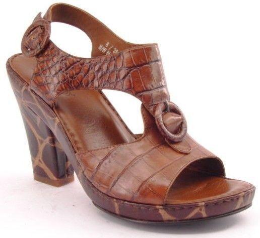 New BOLO Women Brn Leather Open Toe High Heel T-Strap Slingback Pump shoes Sz 6 M
