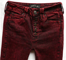River Island Ladies Jeans Size 6 R burgundy buttons super skinny jeans 26/30