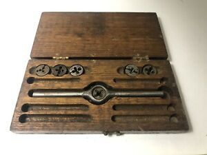 Vintage-Antique-American-TAP-AND-DIE-SET-Missing-Parts-Nice-Wooden-Case-Made-USA