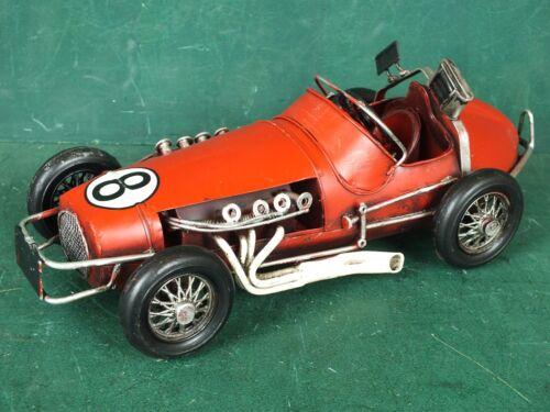 Groß Automobil Auto Blechspielzeug roter offener Rennwagen Nr. 8  Länge ca 28 cm