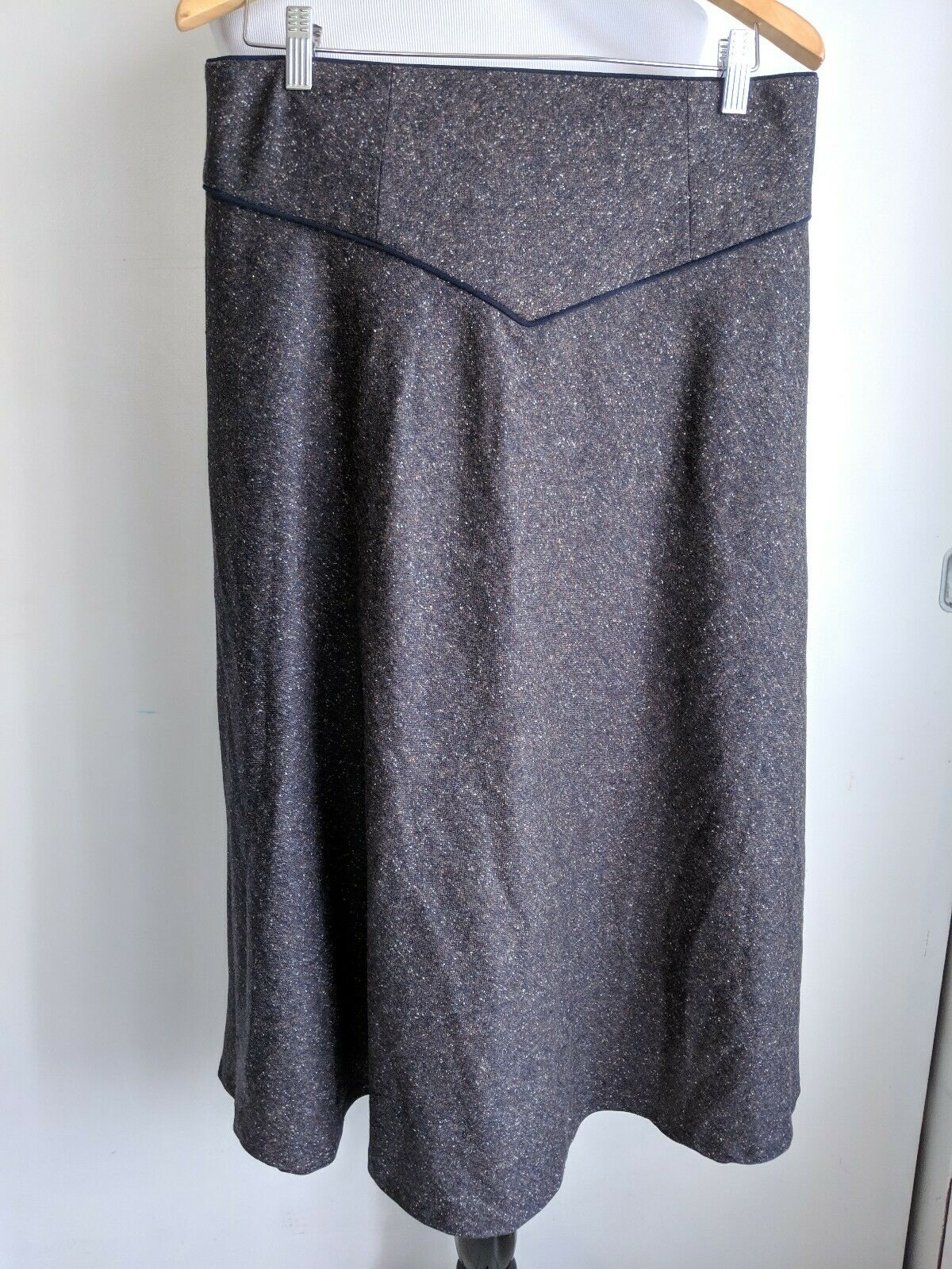 Pendleton Womens 10 bluee Brown Boucle A-Line Wool Long Midi Skirt