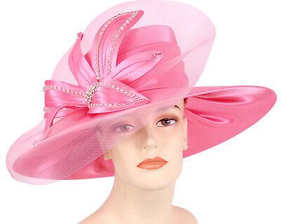 Women/'s Dress Formal Church Derby Hats HL63 Hot Pink