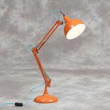 Orange Desk Table Lamp Bedside Retro Vintage Style Angle Large Posable Metal New