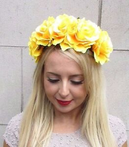 Large yellow rose flower garland headband festival hair band crown image is loading large yellow rose flower garland headband festival hair mightylinksfo