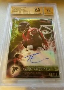 Tevin Coleman 2015 Topps Platinum Camo Refractor RC Rookie Auto /10 BGS 9.5