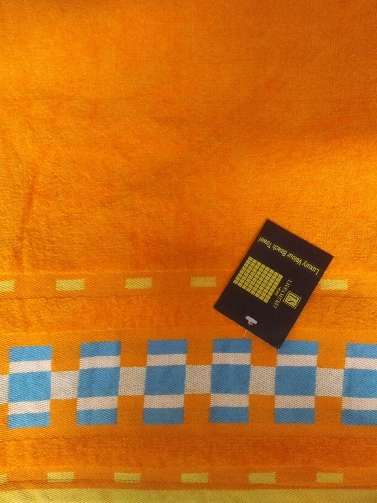 1 x Multi-Purpose 100% Cotton Towel (Beach/Gym/ Pet) 150x75cm approx- Orange