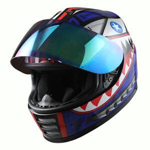 New DOT Motorcycle Youth Full Face Shark Helmet Kids Bike Shark Blue+MX Gloves