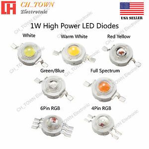 1W-watts-High-Power-SMD-LED-Chip-Lamp-Beads-White-Red-Blue-Green-RGB-Light
