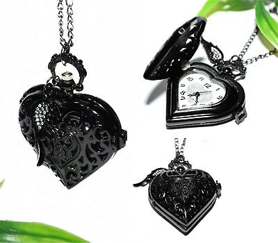 HERZ KETTENUHR ++ Uhr Kette Halskette schwarz Anhänger pocket watch Engelsflügel