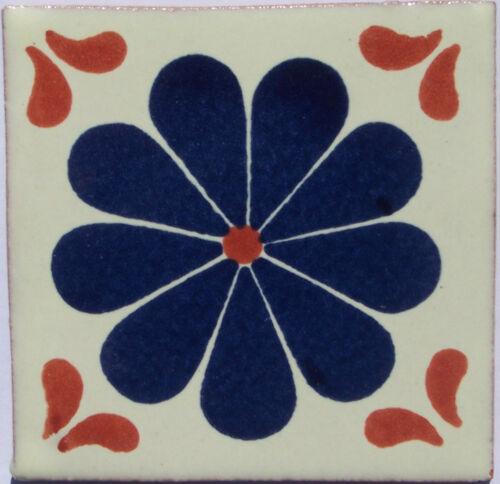 "C311 Mexican Handmade Talavera Clay Tile Folk Art 4x4/""  Handpainted"