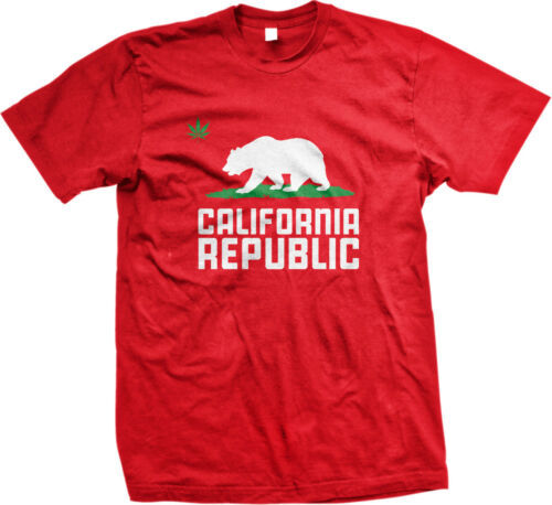 Pot Leaf Grizzly Bear California Republic Cali Life Weed Stoner 420 Mens T-shirt