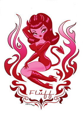 SEXY DEVIL PIN-UP GIRL REDHEAD RED LATEX CORSET VINTAGE BDSM  STICKER/ DECAL