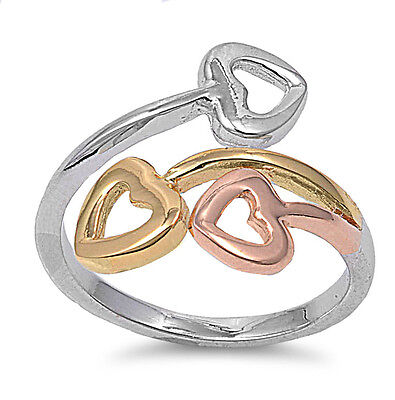 .925 Sterling Silver Three Color Rose Gold Plated Heart Love Promise Ring NEW