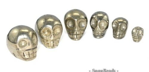 """10MM PALAZZO IRON PYRITE GEMSTONE CARVED SKULL HEAD 10MM LOOSE BEADS 15.5/"""""""