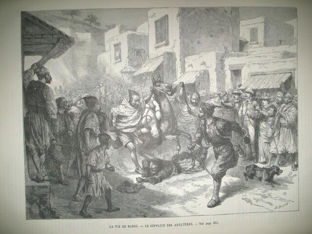 MAROC SUPPLICE DES ADULTERES HOLLANDE TYPES PARIS TOUR EIFFEL EXPO GRAVURES 1889
