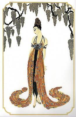 "Original Vintage Erte Art Deco Print ""Feather Gown"" Fashion Book Plate"