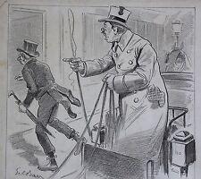 Gil BAER(1863-1931)Le cocher dessin humoristique Strasbourg Assiette au beurre