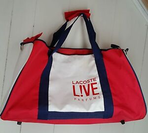 64d0ce92bd Image is loading Lacoste-Live-Pafums-large-white-red-gym-duffle-