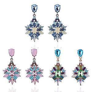 Elegant-Fashion-Women-Rhinestone-Resin-Flower-Ear-Stud-Dangle-Earrings-Jewelry