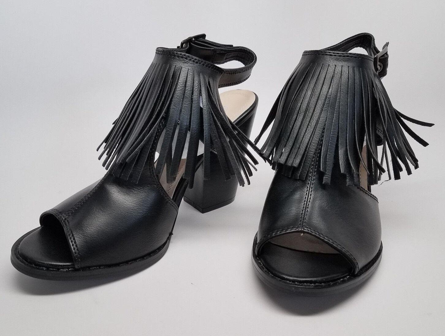 CLOSE leather OUT! BLACK SANDALS Size 8.5 heel stack faux leather CLOSE peep toe fringe tassle a93e19