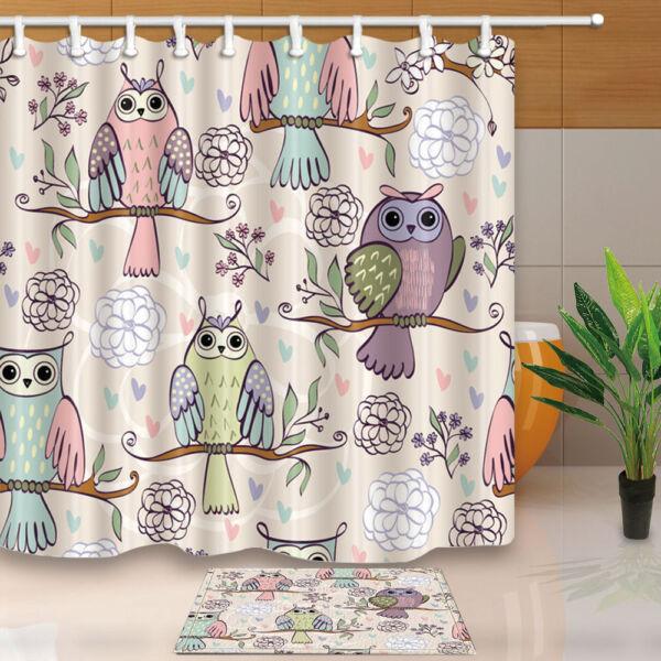 Bird Decor Funny Colorful Owl Bathroom Shower Curtain Set Fabric U002612 Hook  ...