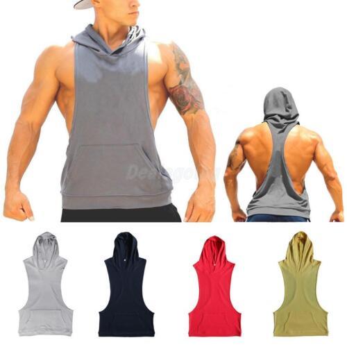 Mens Hooded Racerback Hoodie Tank Top Bodybuilding Vest Deep Cut Fitness Top