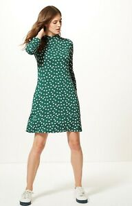 New-M-amp-S-Green-Printed-Swing-Dress-Long-Sleeves-St-Patricks-Day-Dress-Size-8-24