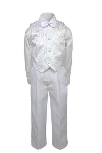 Baby Toddler Boys Wedding Communion Baptism Formal Paisley Tuxedo Suit WHITE