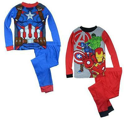 J09d NEW Avengers Boys Kids Size 6 8 10 Cotton Pyjamas PJs Pajasmas Sleepwear