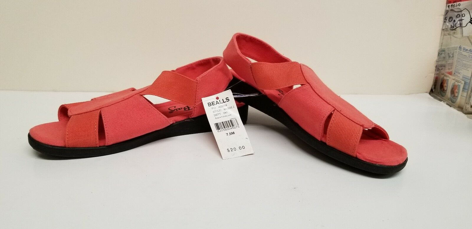 WOMENS SHOES-CORAL FOAM-CORAL-SIZE BAY ELASTIC STRAPPY SANDALS-MEMORY FOAM-CORAL-SIZE SHOES-CORAL 6.5M-NEW 9442e9