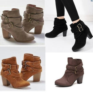 Women-Ankle-Boots-Mid-Block-Heel-Pointed-Toe-Casual-Strappy-Buckle-Martin-Shoes