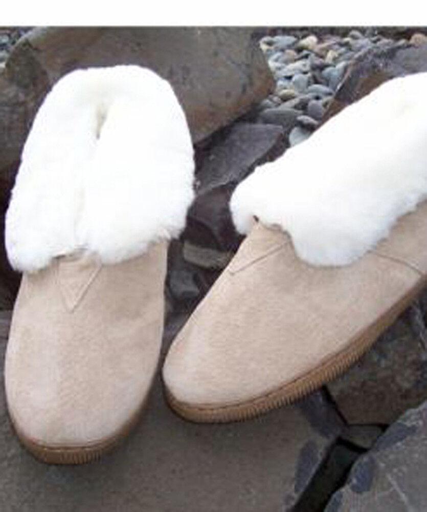 Lady's Genuine Australian Shearling Sheepskin/Suede Slippers Wool Booties