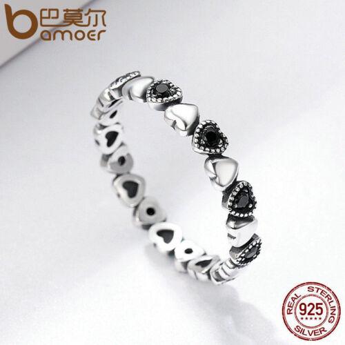 Bamoer Solid .925 Sterling Silver Ring avec Zircon Croix Coeur Pour femmes Bijoux