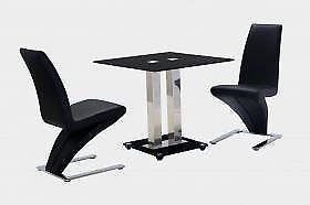 Trinity Modern Contemporary Chrome Black Glass Small Dining Table Furniture Ebay