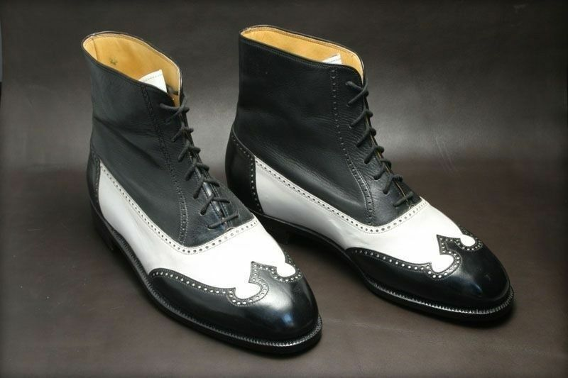 MEN HANDMADE BLACK WHITE ANKLE HIGH LEATHER BOOTS CASUAL DRESS PARTY SHOES