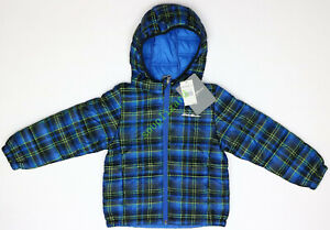 New-Eddie-Bauer-Boys-Plaid-Quilted-Hooded-Puffer-Jacket-NWT-Blue-Size-XL-16-18