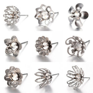 10x-304-Stainless-Steel-Flower-Cup-Earring-Posts-Filigree-Stud-Findings-4mm-Tray